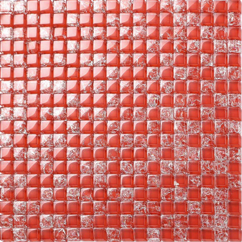 Red Crackle Glass Mosaic Tiles Sheet (MT0084)
