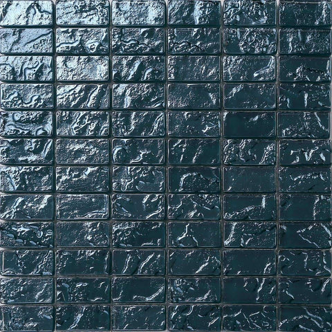 Blue Textured Lava Glass Brick Mosaic Tiles Sheet (MT0122)