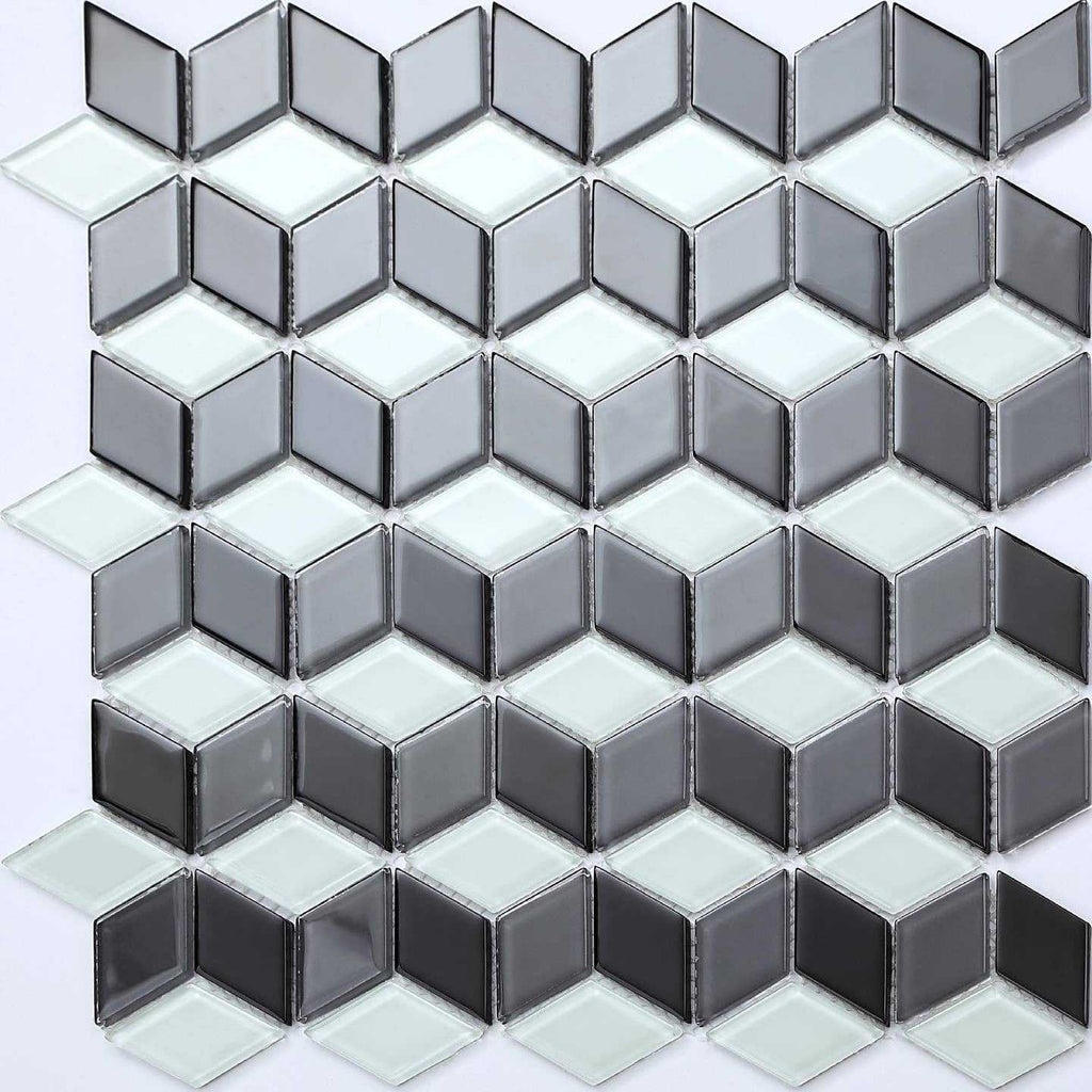 black white 3d cubes glass mosaic tiles mt0083. Black Bedroom Furniture Sets. Home Design Ideas