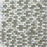 Sample of White, Grey and Silver Glass & Stone Brick Shape Mosaic Tile Sheet (MT0124)