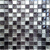 Black Silver Glass Square Mosaic Kitchen Bathroom Tiles | Grand Taps