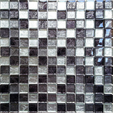 Black And Silver Glass Mosaic Tiles Sheet MT0004