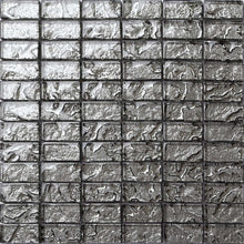 Load image into Gallery viewer, Sample of Grey Textured Lava Glass Brick Mosaic Tiles Sheet (MT0121)