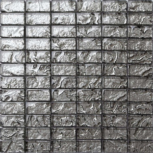 Sample of Grey Textured Lava Glass Brick Mosaic Tiles Sheet (MT0121)