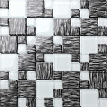 Load image into Gallery viewer, Black With Silver Backing & White Modular Mix Mosaic Tiles (MT0077)