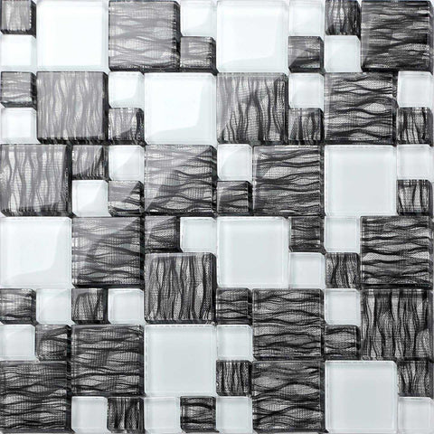 Black With Silver Backing & White Modular Mix Mosaic Tiles (MT0077)