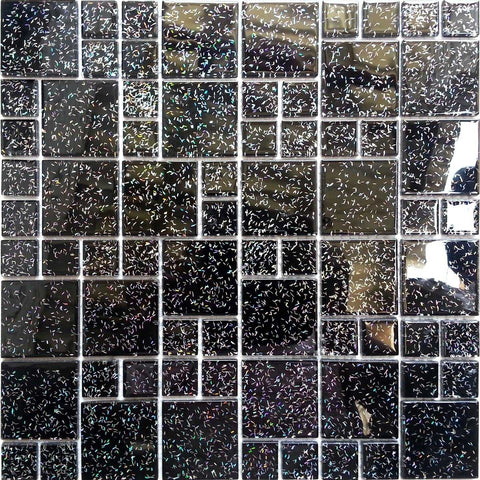 Black Glitter Size Mix Glass Mosaic Tiles Sheet (MT0011)