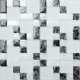 Black & White Crackled and Frosted Modular Mix Mosaic Tiles Sheet (MT0076)