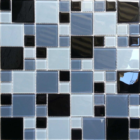 Black, White And Grey Modular Pattern Mosaic Tiles Sheet (MT0012)