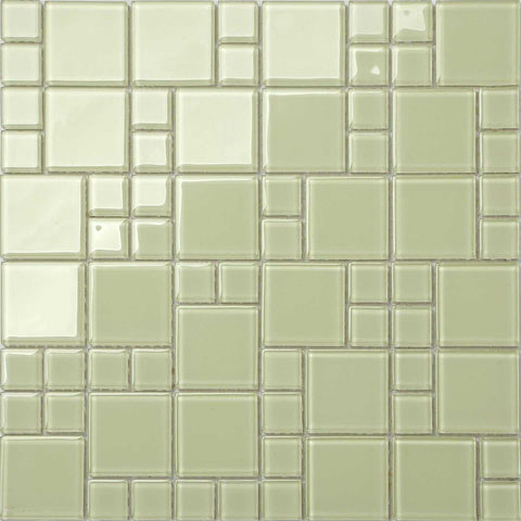 Light Green Mix Mosaic Kitchen Splashback Bathroom Tiles | Grand Taps