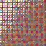 Lustrous Pearl Red Orange Iridescent Glass Mosaic Tiles Sheet (MT0099)