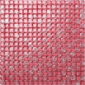 Pink Crackled & Plain Glass Mosaic Tiles (MT0085)