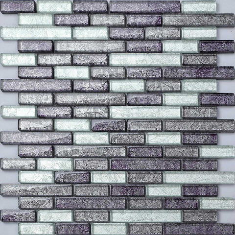Grey Mix Brick Shape Pattern Foil Glass Mosaic Tiles (MT0093)