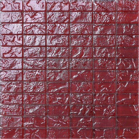 Red Textured Lava Glass Brick Mosaic Tiles Sheet (MT0123)