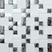 Load image into Gallery viewer, Sample of Black & White Crackled and Frosted Modular Mix Mosaic Tiles Sheet (MT0076)