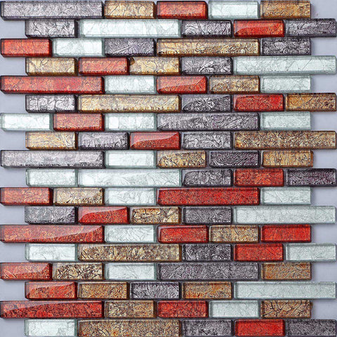 Red Gold Grey Mix Brick Mosaic Kitchen Bathroom Tiles | Grand Taps