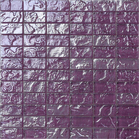 Lilac Textured Lava Glass Brick Mosaic Tiles Sheet (MT0119)