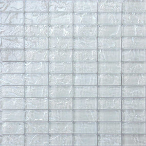 White Textured Lava Glass Brick Mosaic Tiles (MT0118)