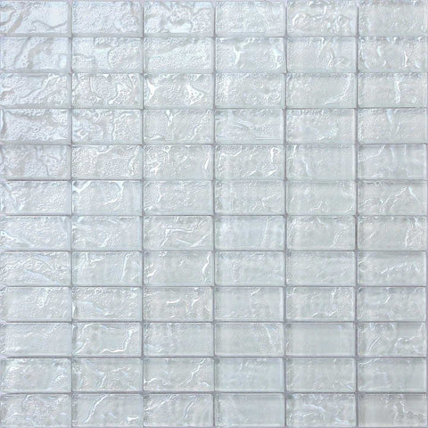 White Textured Lava Glass Brick Mosaic Tiles Sheet (MT0118)