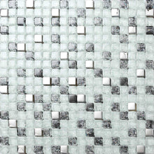 Load image into Gallery viewer, Black & White Crackled With Silver Mirror Glass Mosaic Tiles (MT0078)