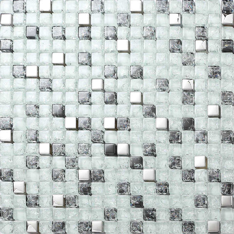 Black & White Crackled With Silver Mirror Glass Mosaic Tiles Sheet (MT0078)