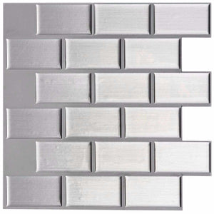 4 Pack of Brushed Steel Effect 3D Gel Mosaic Effect Self-Adhesive Tile Sheets (3D0009)