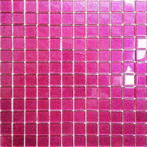 Glitter Bright Pink Glass Mosaic Bathroom Kitchen Tiles | Grand Taps