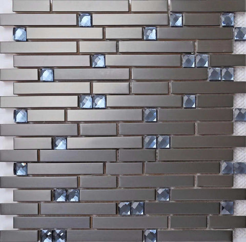 Black Stainless Steel & Blue Diamond Glass Brick Shape Mosaic Tiles (MT0136)