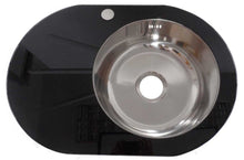 Load image into Gallery viewer, 700 x 485mm Inset Black Glass & Stainless Steel Sink (GTS700)