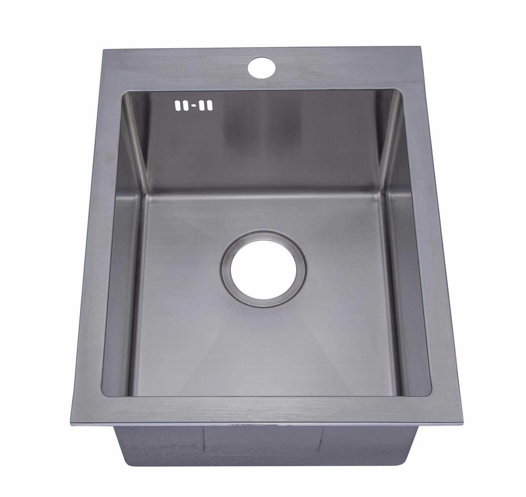 400 x 500mm Inset Single Bowl Handmade Stainless Steel Kitchen Sink with Pre-punched Tap Hole and Easy Clean Corners (DS022-1)
