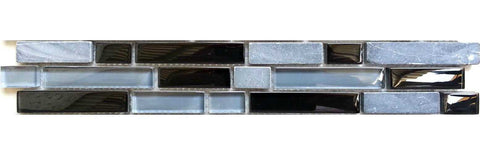 Grey & Black Brick Shape Mosaic Tiles Strip (MB0019)