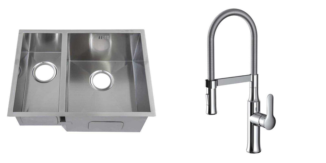 Set of 585 x 440 mm Square Undermount 1.5 Bowl Handmade Satin Stainless Steel Kitchen Sink + Kitchen Mixer Tap (KST149)