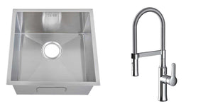 Set of 440 x 440 mm Square Undermount Deep Single Bowl Handmade Satin Stainless Steel Kitchen Sink With Waste + Kitchen Mixer Tap (KST145)