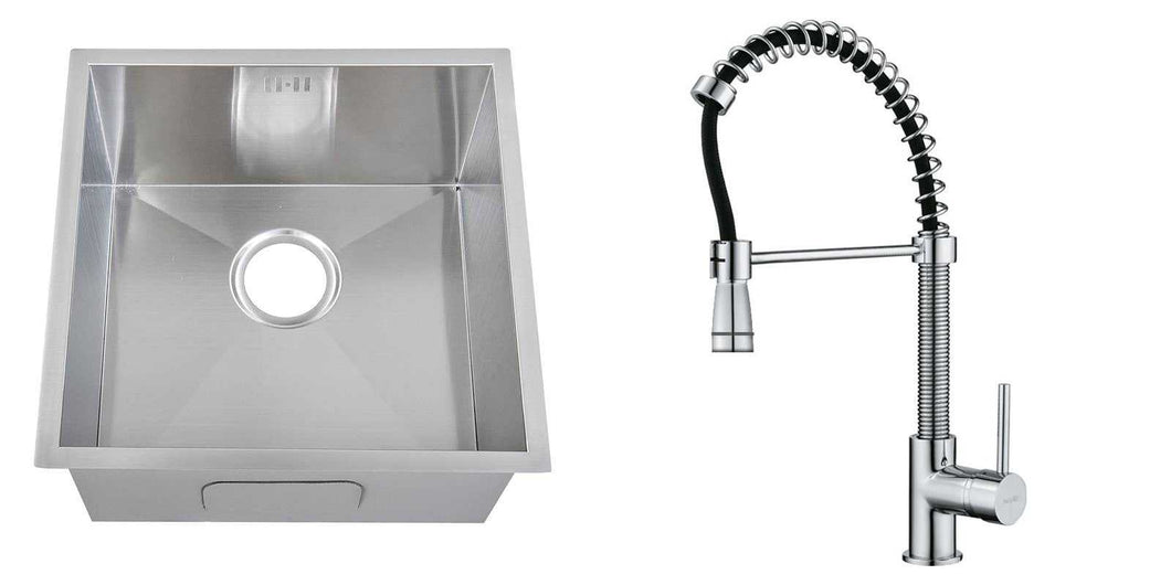 Set of 440 x 440 mm Square Undermount Deep Single Bowl Handmade Satin Stainless Steel Kitchen Sink + Kitchen Mixer Tap (KST165)