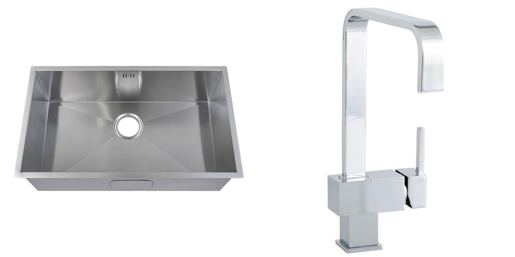 Set of 740 x 440mm Handmade Satin Stainless Steel Undermount Kitchen Sink and Modern Square Design Tap (KST137)