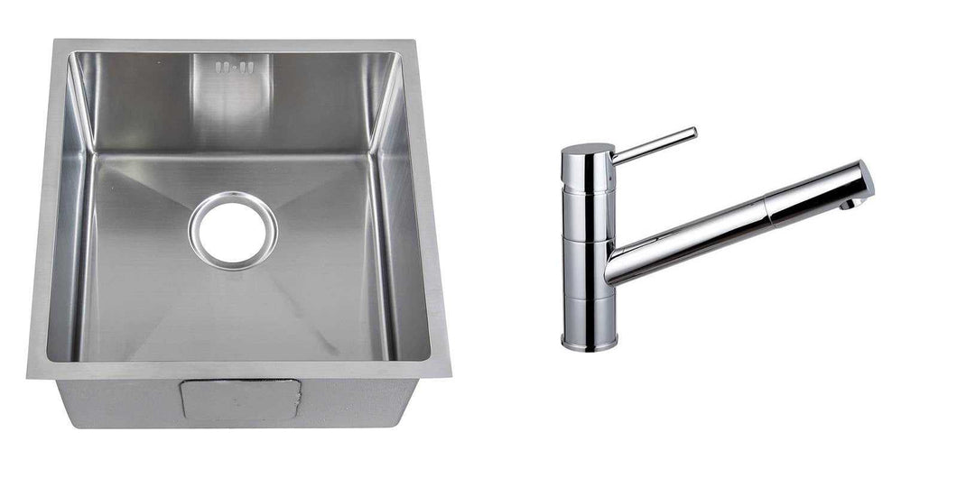 Set of 440 x 440 mm Square with Rounded Corners Undermount Single Bowl Handmade Satin Stainless Steel Kitchen Sink + Kitchen Mixer Tap (KST161)