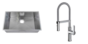 Set of 740 x 440 mm Rectangle Undermount Deep Wide Single Bowl Handmade Satin Stainless Steel Kitchen Sink + Kitchen Mixer Tap (KST147)