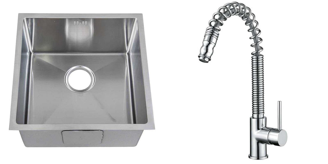 Set of 440 x 440mm Rounded Corners Handmade Satin Stainless Steel Undermount Kitchen Sink + Kitchen Mixer Tap (KST181)