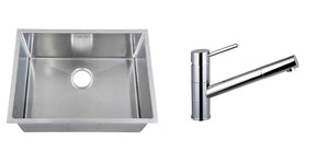 Set of 590 x 440 mm Rectangle with Rounded Corners Undermount Single Bowl Handmade Satin Stainless Steel Kitchen Sink + Kitchen Mixer Tap (KST162)