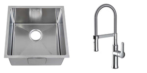 Set of 440 x 440 mm Square with Rounded Corners Undermount Single Bowl Handmade Satin Stainless Steel Kitchen Sink + Kitchen Mixer Tap (KST151)