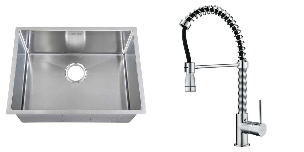 Set of 590 x 440 mm Rectangle with Rounded Corners Undermount Single Bowl Handmade Satin Stainless Steel Kitchen Sink + Kitchen Mixer Tap (KST172)