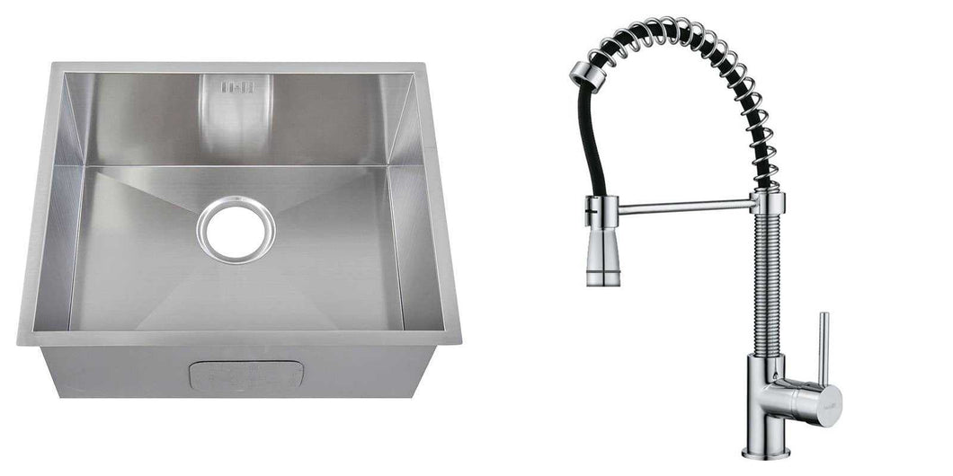 Set of 540 x 440 mm Rectangle Undermount Deep Single Bowl Handmade Satin Stainless Steel Kitchen Sink With Waste + Kitchen Mixer Tap (KST166)