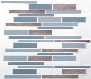 4 Pack of Light Blue, Dark Blue, White and Wood Effect 3D Gel Mosaic Effect Self-Adhesive Tile Sheets (3D0007)