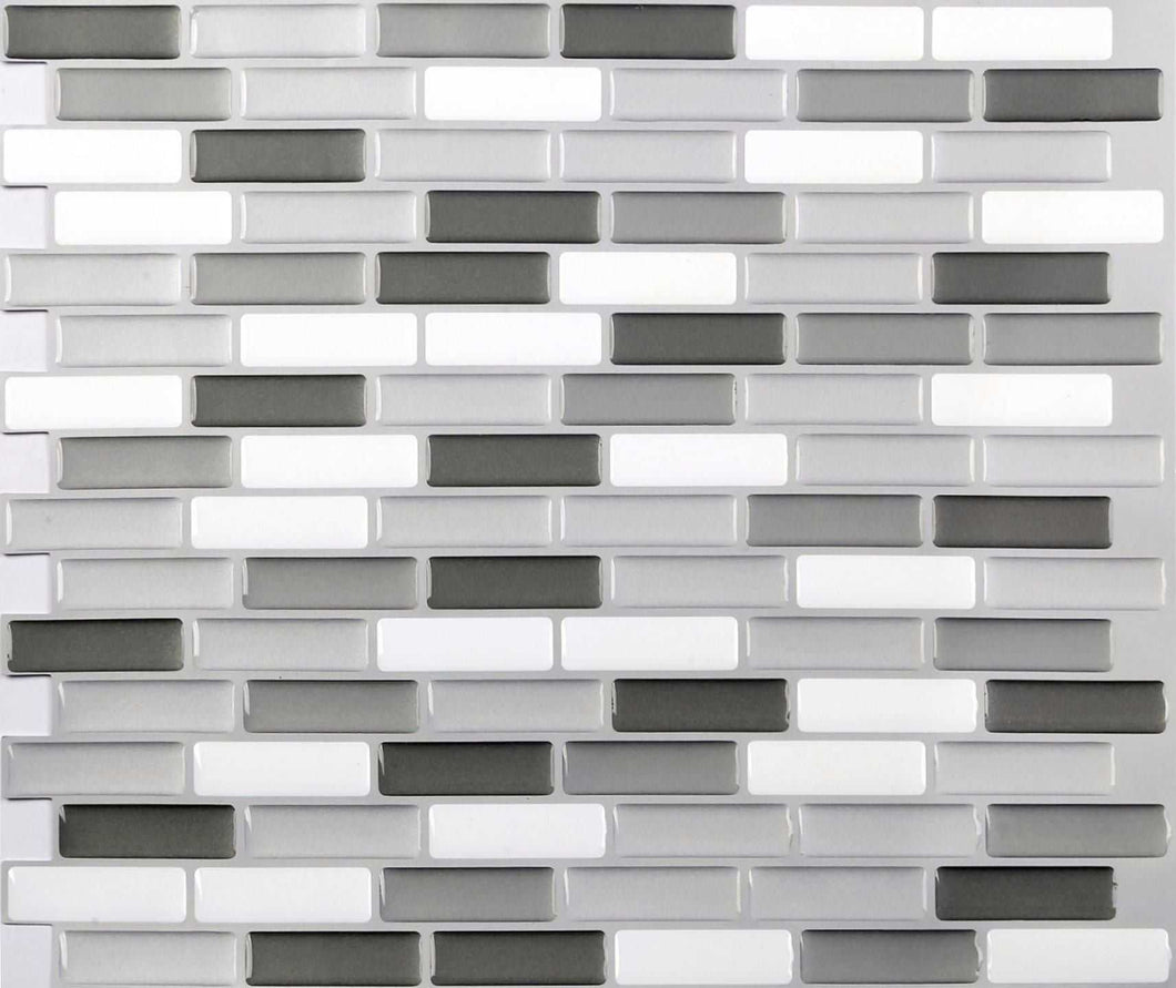 4 Pack of Grey, White & Black 3D Gel Mosaic Effect Self-Adhesive Tile Sheets (3D0006)