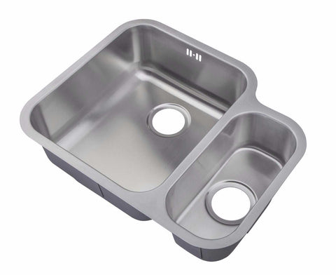 600 x 480mm Satin Undermount 1.5 Bowl Stainless Steel Kitchen Sink (D12)