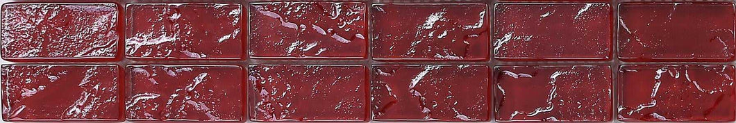 Red Textured Lava Glass Mosaic Tile Strip (MB0123)