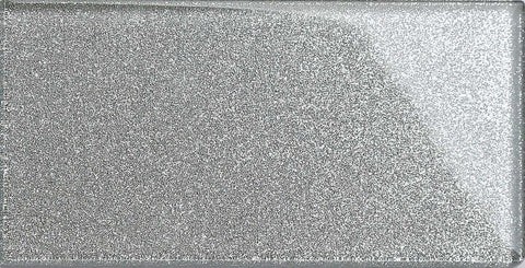 Silver Glitter Subway Tile 75mm x150mm  (MT0113)