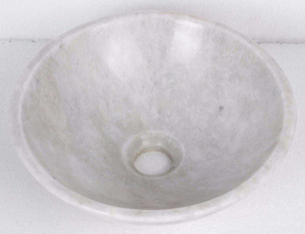 Round Oriental White Stone Counter Top Basin in 3 Sizes (B0034, B0035, B0036)