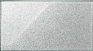 Silver Glitter Glass Large Subway Tile (MT0075)