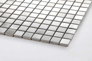 Sample of Brushed Silver Stainless Steel Mosaic Tiles Sheet (MT0036)